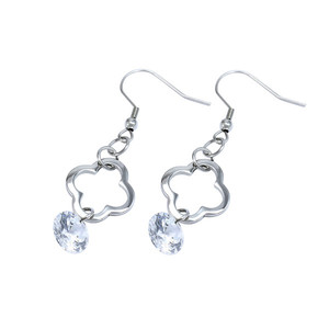Women's stainless steel padlock earrings with clear stone Dimensions: 5.5 cm long.