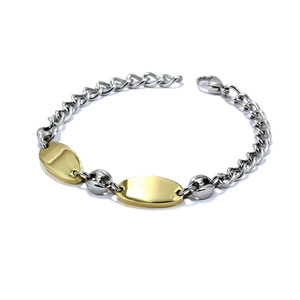 Imaginative stainless steel bracelet, in combination of silver and gold color. Length: 21 cm.