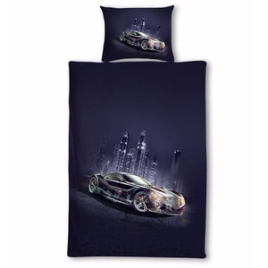 Linen with quality 3D print sports car. Pleasant and smooth to the touch. Each pack contains 1pc bedding 140x200 cm, 1pc