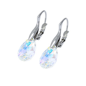 Stainless steel earrings. Clear with colorful reflections Dimensions: length 35 mm, width approx. 10 mm.