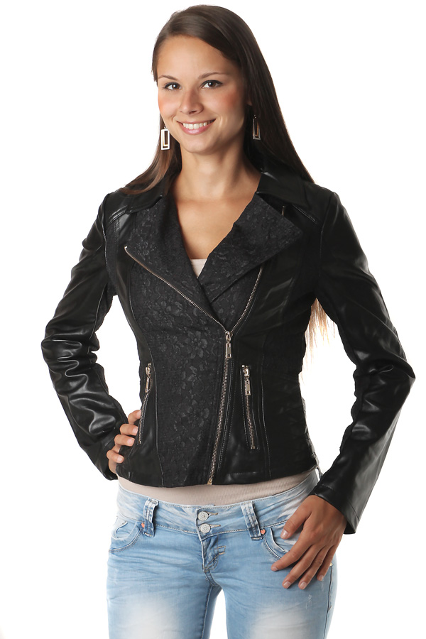 Women's leatherette jacket decorated with lace