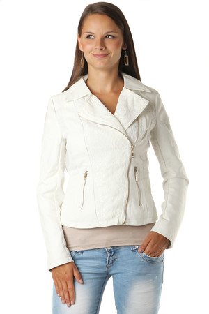 Women's extravagant leatherette jacket combined with lace. The long sleeve jacket has a zip fastening. Suitable for
