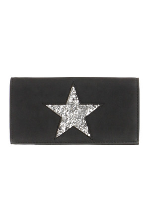 Leatherette wallet with star. Patenting. Inside, a small pocket, two compartments for banknotes and several card slots,