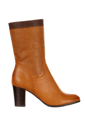 Brown perforated high-heeled boots. Material: Synthetic