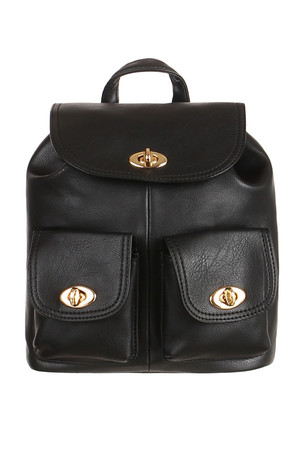 Small urban leather retro backpack. The main pocket can be stitched with a drawstring, fastened with a rotary lock. Inside