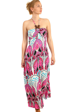 Patterned maxi dress with neck tie, decorated with beads. On the back of the firecracker. Material: 65% cotton, 35% polyester