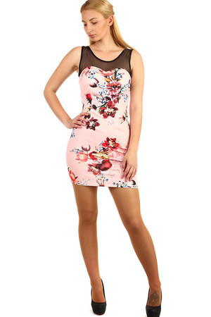 Mini dress with floral print and translucent top. Material: 94% polyester, 6% elastane. Import: Italy