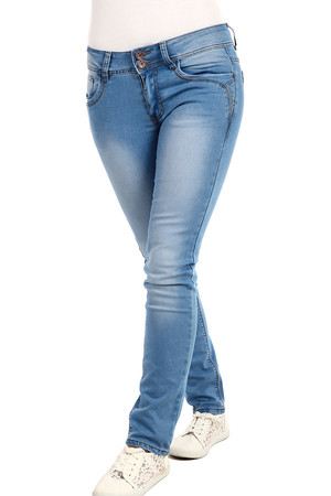 Light blue women's jeans with a pleated effect. Straight pants, low waist. Material: 98% cotton, 2% elastane.