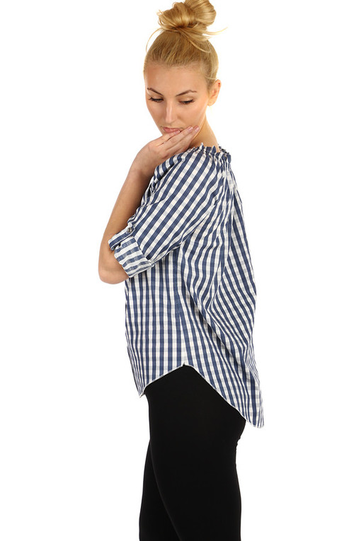 Women's blouse with checkered pattern and exposed shoulders