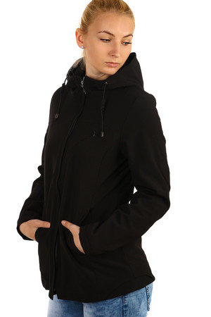 Black ladies softshell jacket with zipper. Suitable for as / autumn. Use - for sports (hiking / cycling) or for casual wear.