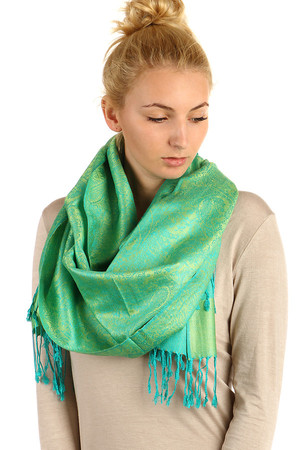 Long pashmina with pattern. Great choice of colors. Many ways to wear. Material: 90% wool, 10% viscose.