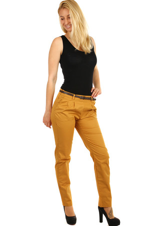 Women's business pants in practical colors. A belt is included. Material: 100% cotton. Model photographed in size L.