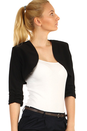 Women's one-colored bolero with three-quarter sleeves. Also suitable for full-length figures, available up to size 50.