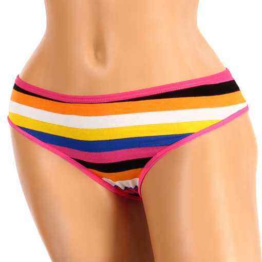 Women's cotton panties with rainbow stripes