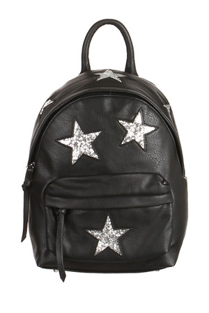 Original women's leatherette backpack decorated with sequins stars. Main zippered pocket. One small zipped pocket and two