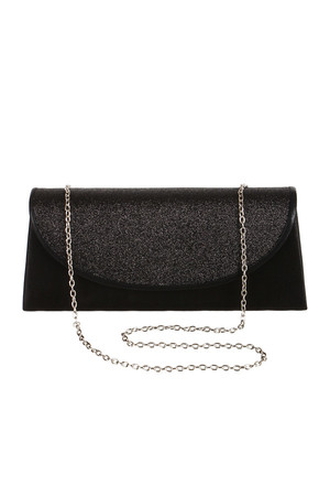 Shiny ladies clutch with sequins. It can be worn in several ways - it includes a chain strap and a loop. Patent closing.