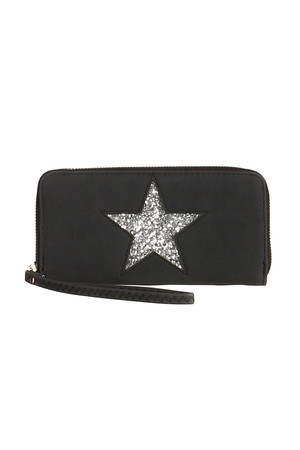 Stylish ladies wallet with glittering star. Zip fastening. Inside, several card compartments, banknote compartments and