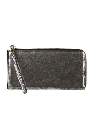 Women's metallic wallet with a handy loop. Zip fastening, inside the card compartment and a separate coin pocket. Dimensions: