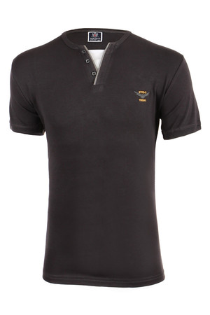 Classic mens t-shirt with buttons at the neck and embroidery. Oversized. Material: 100% cotton