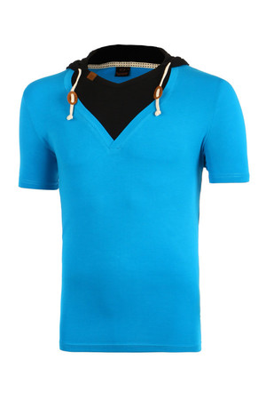 Men's cotton hooded t-shirt. Material: 90% cotton, 10% elastane