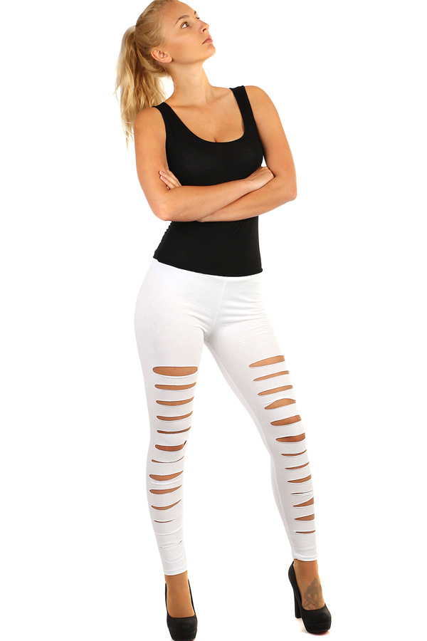 Long women's cotton leggings with cuts