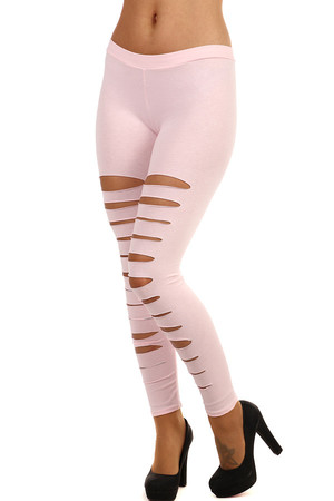 One-color women's extravagant leggings with cuts. Various colours available. Material: 95% cotton, 5% elastane. Import: