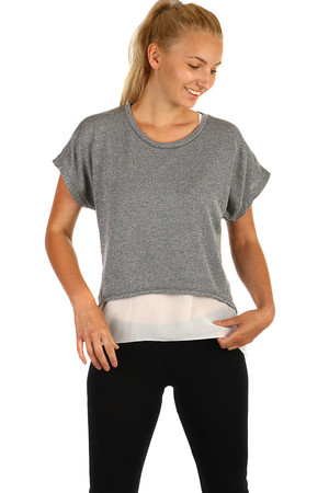 Gray-silver elegant shirt combined with cream top. The back of the top and the T-shirt are slightly elongated. Top