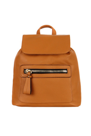 Women's elegant leatherette backpack with a distinctive zipper. Functional zippered front pocket. The main pocket can be