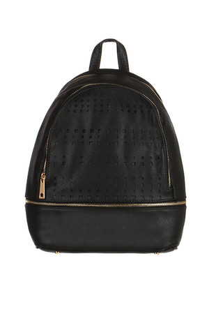 Women's urban leatherette backpack with perforation. Main zippered pocket. Inside one small zippered pocket and two