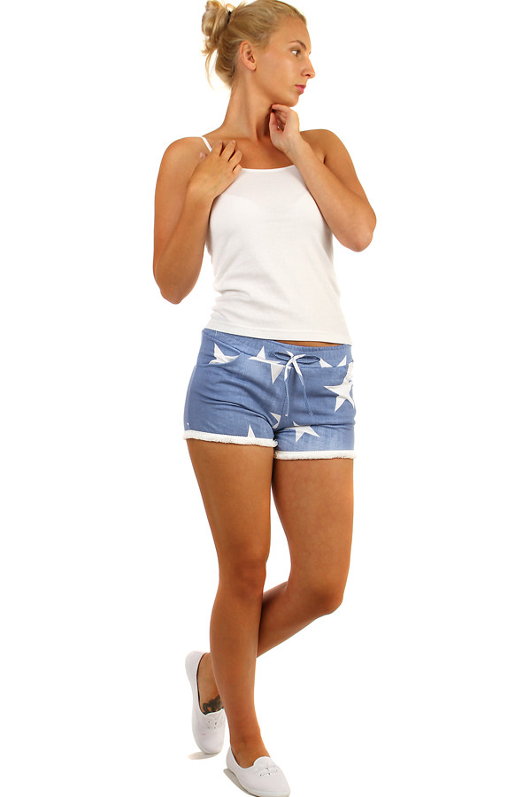 Women's denim shorts with print