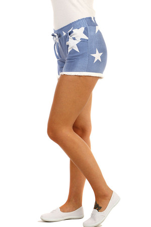 Women's denim shorts with stars. Material: 95% cotton, 5% elastane. Import: Italy