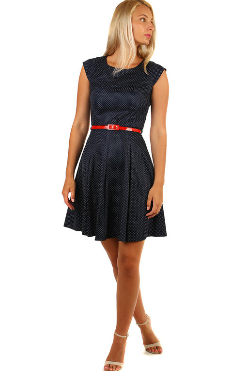 Dark blue retro dress polka dots