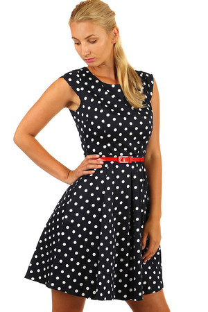 Beautiful dark blue poppy dress with polka dots and belt. Dot size 1.1 cm. Up to size 46. Suitable for plump. Material: 95%