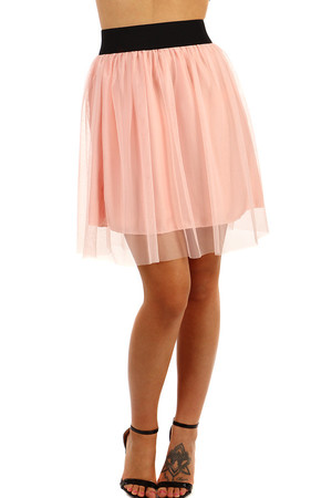 Women's short tulle skirt with rubber at the waist. Material: 65% viscose, 35% polyester. Imports: Italy