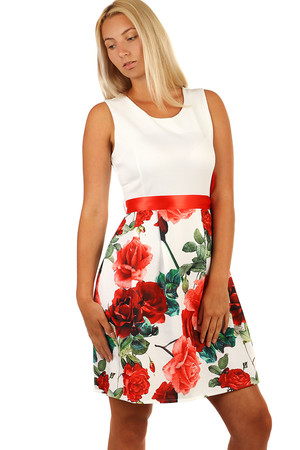 Women's formal dresses with a cut and floral print and ribbon at the waist. Material: 95% polyester, 5% elastane Import: