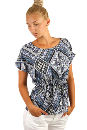 Extravagant ladies loose blouse with oriental pattern. Drawstring at waist. Up to XXXL. Material: 95% cotton, 5% polyester.