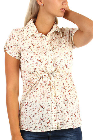 Romantic ladies blouse with floral pattern. Button fastening. Material: 100% cotton.