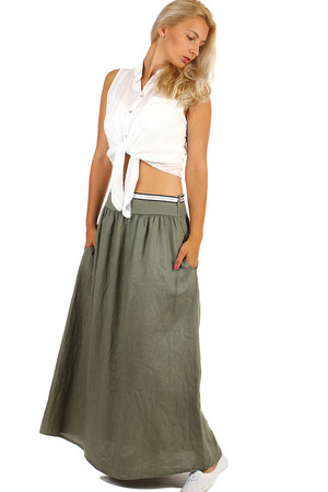 Long single-colored skirt with decorative belt and pockets. Material: 100% linen. Import: Italy