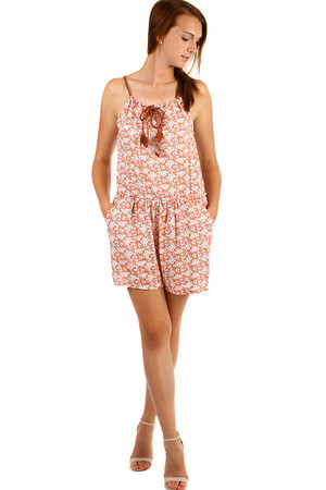 Patterned ladies summer overalls for narrow straps. Material: 65% cotton, 35% polyester