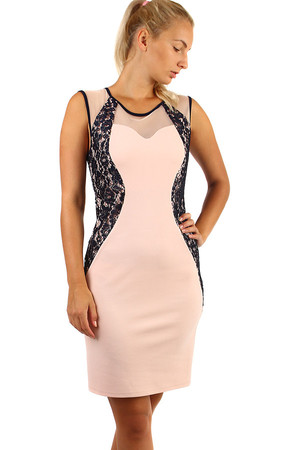 Romantic close-fitting dress with lace and top-top. Also suitable for plump. Sizes up to size 46. Material: 95% polyester, 5%
