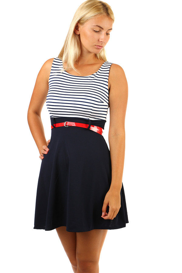 Dress with striped top and loose skirt