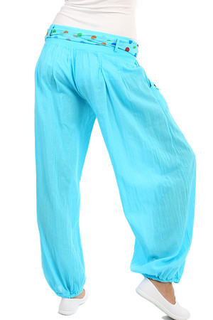 Comfortable loose women's pants - harem with decorative belt and buttons. Material: 95% cotton, 5% elastane. Import: Italy