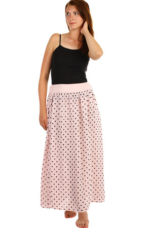 Polka dot skirt with decorative belt and pockets. Maxi length. Material: 100% linen. Import: Italy