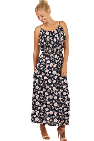 Long summer dress with floral pattern. Material: 100% viscose