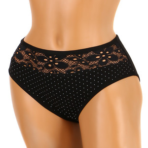 Polka dot panties with lace - high waist Material: 95% cotton, 5% elastane.