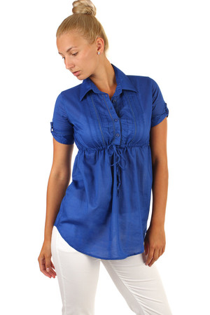 One-color women's short sleeve cotton blouse. Extended cut. Material: 100% cotton.