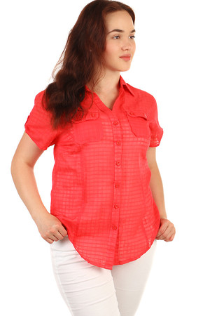 One-color women's shirt with short sleeves. Slightly transparent material. Button fastening. Material: 100% cotton.