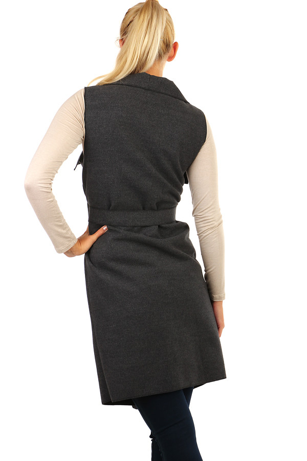 Women's winter long vest with belt