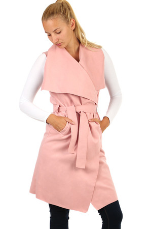Women's long single color vest with belt. Suitable for colder weather. Distinctive collar, elegant belt. Material: 80%
