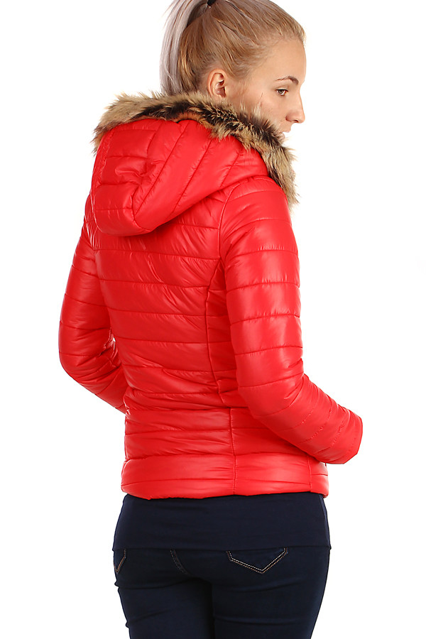 Women's quilted jacket with fur on the hood